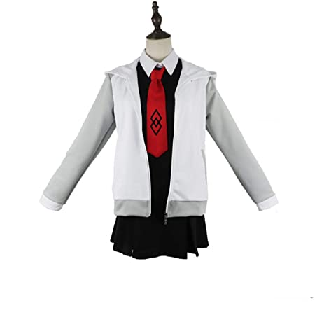 YKJ Anime Cosplay Blanco Gris Chaqueta y Vestido Negro Traje ...
