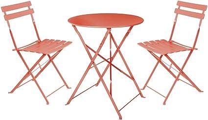 LOLAhome Conjunto de Mesa y 2 sillas para Exterior de Acero (Coral): Amazon.es: Jardín