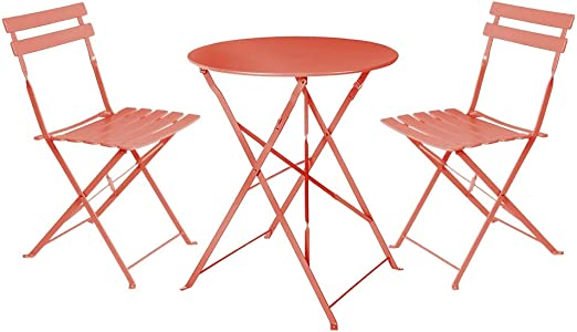 LOLAhome Conjunto de Mesa y 2 sillas para Exterior de Acero (Coral ...