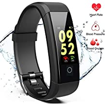 Fitness Tracker, Smart Tracking Watch with Heart Rate, Blood Pressure & Oxygen Monitor, IP67 Waterproof Band, Sports Pedometer, Step & Calorie Counter, Sleep Monitoring, Bluetooth Wristband Bracelet