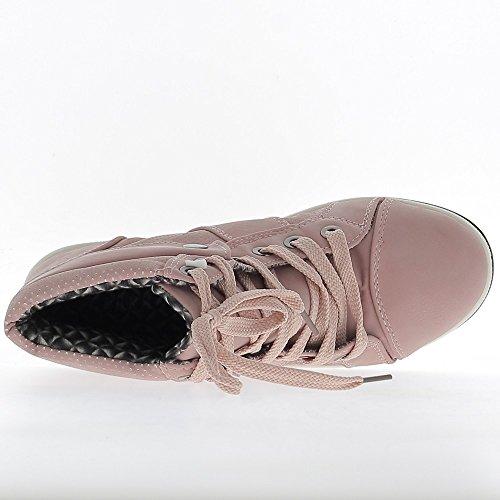 Rosa scarpe top alta donna sneakers cucita sul retro