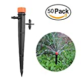 ASPEN BURG Drip Emitters Perfect for 4mm/7mm Tube, Adjustable 360 Degree Water Flow Drip Irrigation System for flower beds, vegetable gardens, herbs gardens(50pack)