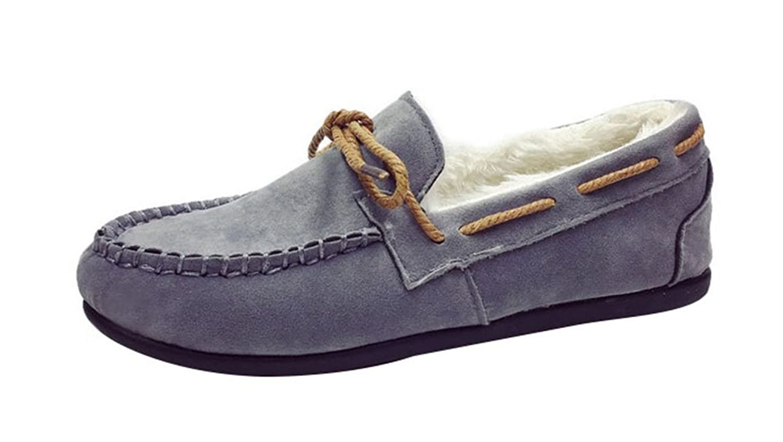 T&Grade Women's Fashion Fur Suede Sneaker Winter Low Cut Round Toe Flat Rubber Sole Warm Snow Shoelaces Loafer