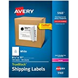 Avery Shipping Labels for Laser Printers, 8.5 x 11 Inch, White, Box of 100 (5165)