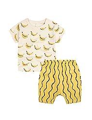 Boy's White Banana Print Short Sleeve Shirt With Yellow Strip Pant