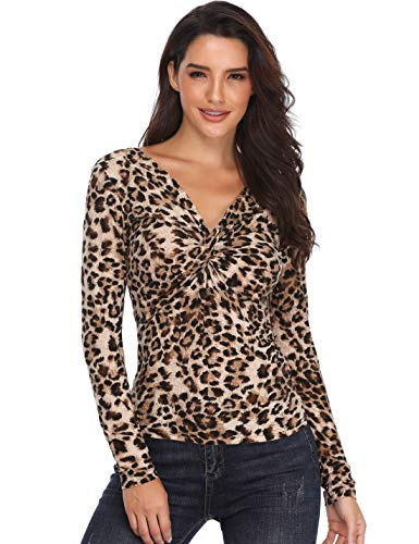 (MISS MOLY Sexy Leopard Grain Tops for Women Long Sleeve V Neck Ruched Shirt Warp Crop Blouse Leopard Printed)