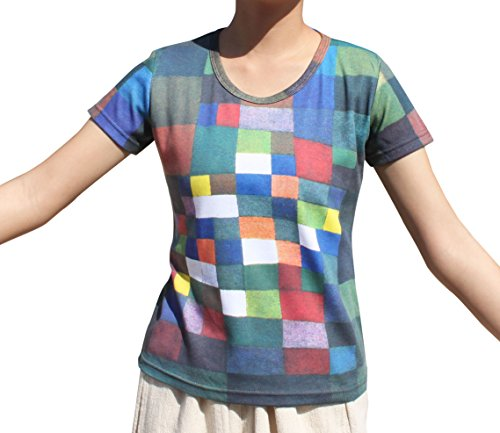 Raan Pah Muang RaanPahMuang Ladies T-Shirt - Paul Klee - In The Desert - Cubist Modernist Painting, X-Large