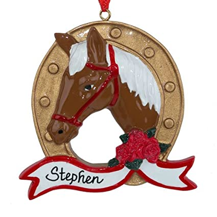 Horse Head in a Horseshoe Personalized Christmas Tree Ornament - Amazon.com: Horse Head In A Horseshoe Personalized Christmas Tree