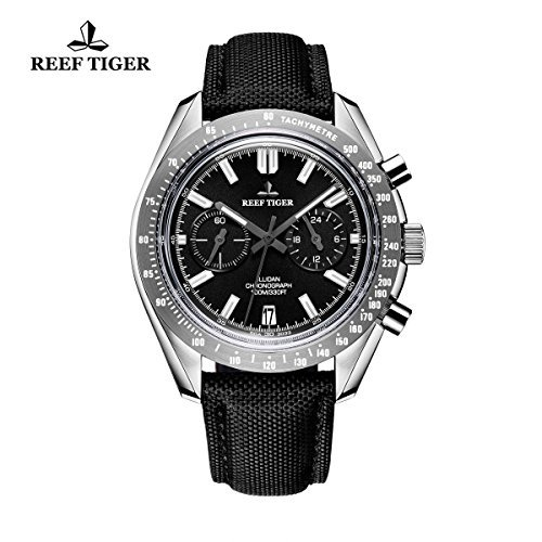 (Reef Tiger Sport Watches for Men Chronograph Steel Watches Leather Strap RGA3033 ... (OU-0D87-70FE))