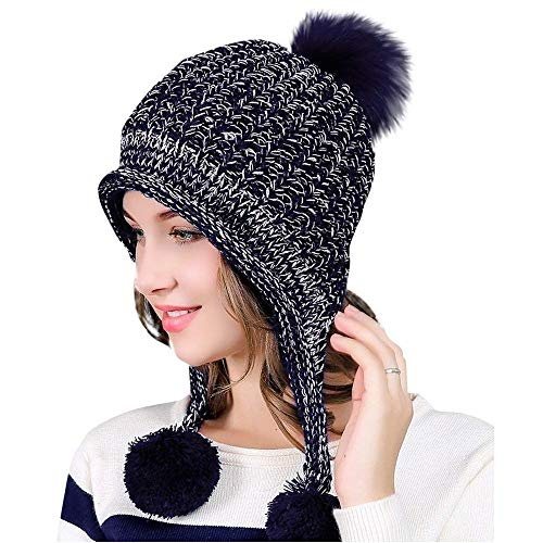(Feiw Women Winter Thick Beanie Hat Ski Ear Flaps Caps Dual Layered (Navyblue))