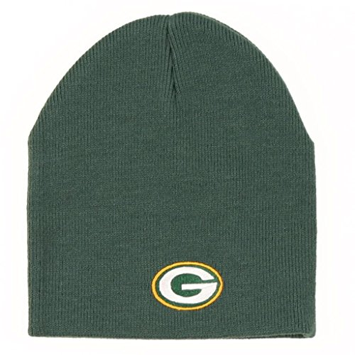 Reebok NFL Cuffless Team Logo Beanie Hat - Football Knit Skull Cap (Green Bay Packers - Green)