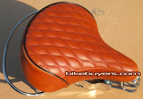 Style Beach Cruiser Bike Bicycle (Velo SD Saddle - Brown, Classic Style Seat with chrome rail handle bar for beach cruiser bikes, Twin-spring suspenion)