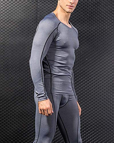 running Compression Sport Ensemble Pcs shirt Sport Collant Leggings Gym  Gris 2 Homme Athletisme Shengwan Tenue Fitness Jogging ... 0c1b0b41688