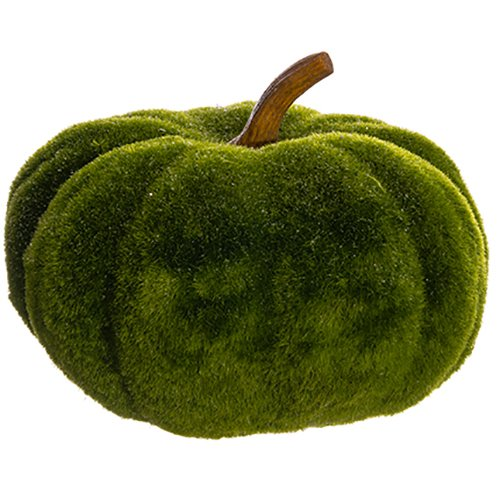 7''Hx9.5''W Artificial Glittered Moss Pumpkin -Green (pack of 4) by SilksAreForever