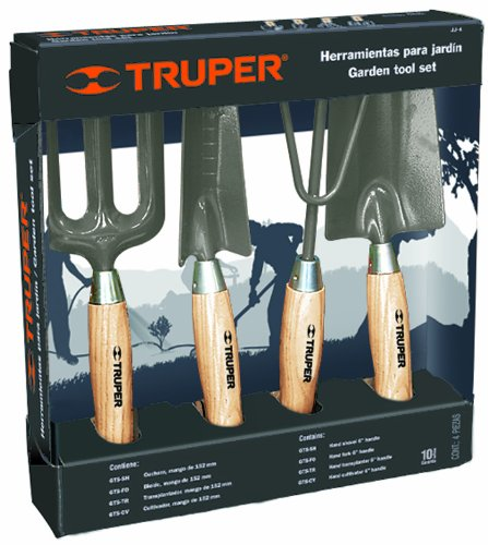 Truper 30642 6-Inch Garden Tool Kit with Hoe, Cultivator, Transplanted, Trowel by Truper