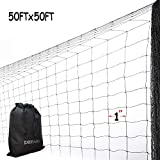 DEBARK 50' x 50' Net Netting for Bird Poultry Aviary Game Pens Economical Bird Netting-Protect Blueberry,Plants and Vegetables from Ows New 1' Square Mesh Size