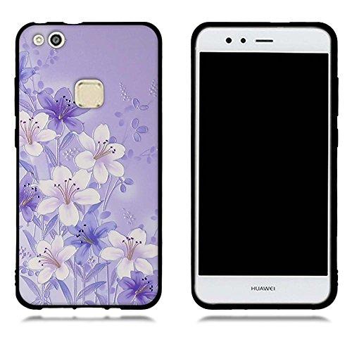 Funda Huawei P10 Lite, FUBAODA [Flor rosa] caja del teléfono elegancia contemporánea que la manera 3D de diseño creativo de cuerpo completo protector Diseño Mate TPU cubierta del caucho de silicona su pic: 06