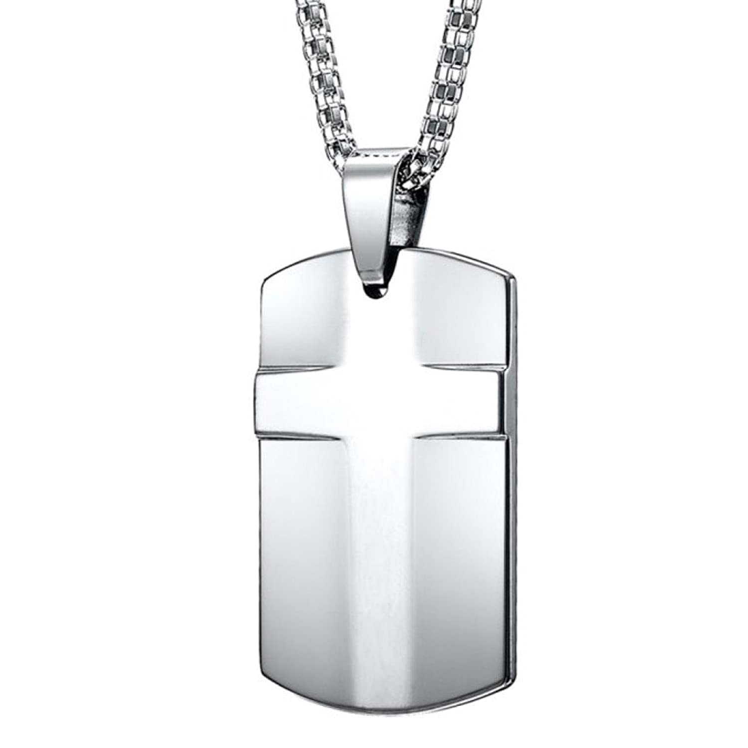 Mens cross tungsten dog tag pendant steel necklace chain amazon aloadofball