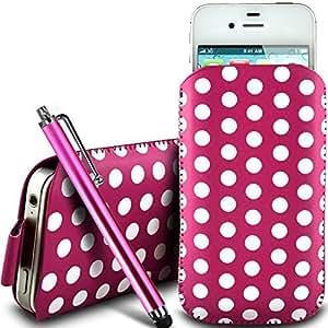Online-Gadgets UK - Nokia Lumia 525 de protección pu Polka de cuero con cremallera diseño antideslizante de cordón en la bolsa del caso con cierre rápido y grande Stylus Pen - Rosa