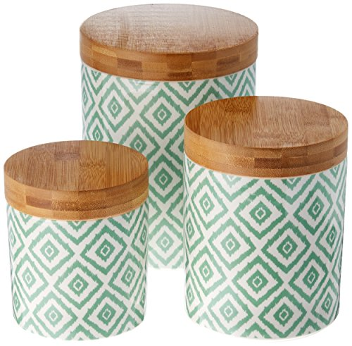 Certified International Green Ikat Canister Set, 3 piece - Green 3 Piece Canister