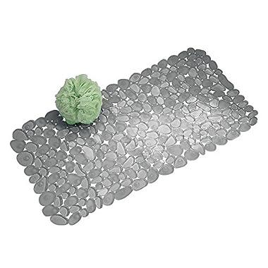 InterDesign Pebblz Non-Slip Suction Bath Mat for Shower, Bathtub - Graphite