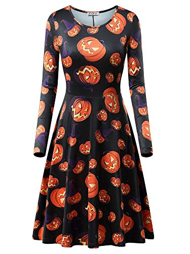Floral Candies Dress (KIRA Womens Knee Length Dress Long Sleeve Round Neck Floral Dress)