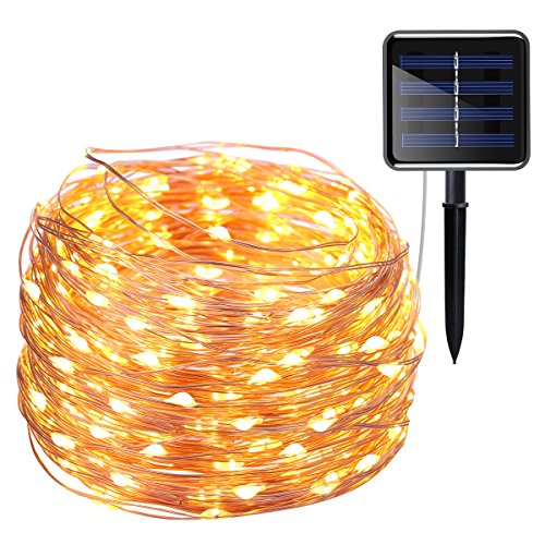 AMIR Solar Powered String Lights, 200 LED Copper Wire Lights, 72ft 8 Modes Starry Lights, Waterproof IP65 Fairy Christams Decorative Lights for Outdoor, Wedding, Homes, Party, Halloween (Warm White) (Strings Lights)