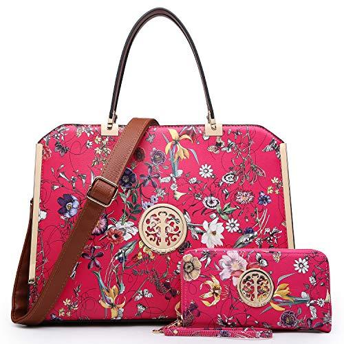 DASEIN Women Large Satchel Handbag Shoulder Purse Top handle Work Bag Tote With Matching Wallet (Fuchsia Flower)
