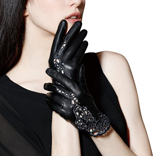 Fioretto Halloween Gloves Womens Leather Gloves Sexy Touchscreen Driving Italian Genuine Leather Gloves Unlined Lace Gloves Texting Motorcycle Gloves Black L