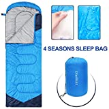 bag with hood - Sleeping Bags for Adults Women Men, 4 Season Waterproof Envelope Ultralight Mummy Sleeping Bag With Compression Sack