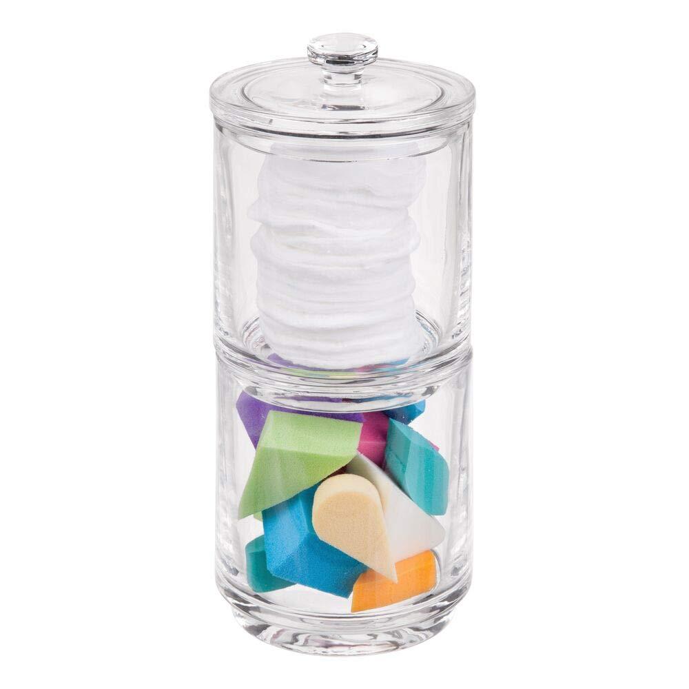 bocaux de rangement empilables avec couvercle pour cosm/étiques mDesign pot en verre avec 2 /étages transparent bo/îte /à maquillage en verre pour l/évier ou la table /à maquillage