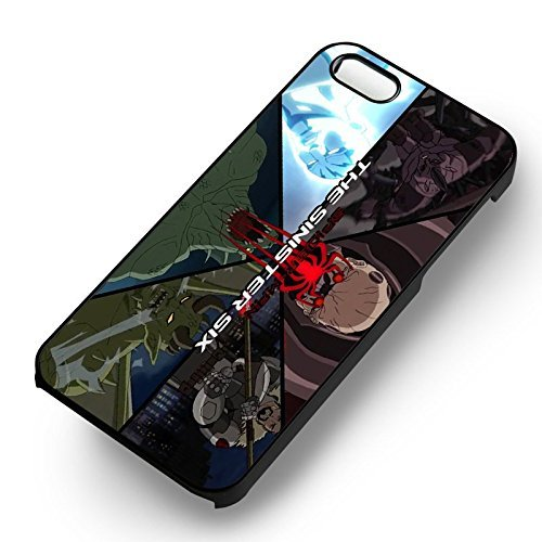 Sinister Six Spiderman pour Coque Iphone 5 or Coque Iphone 5S or Coque Iphone 5SE Case (Noir Boîtier en plastique dur) B2Y5UP