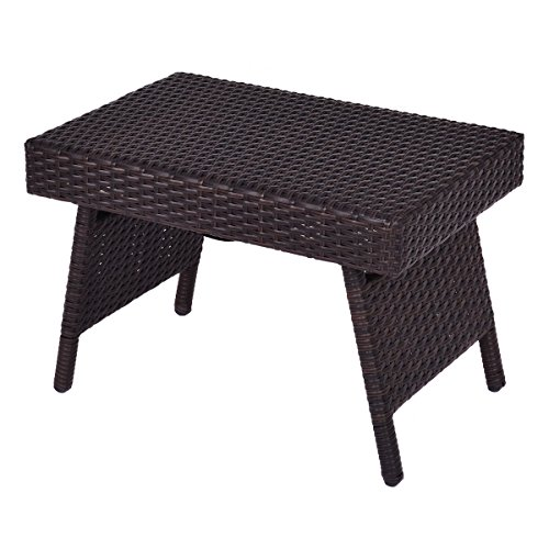 Tangkula Outdoor Wicker Table Folding Patio Pool Standing Coffee Table