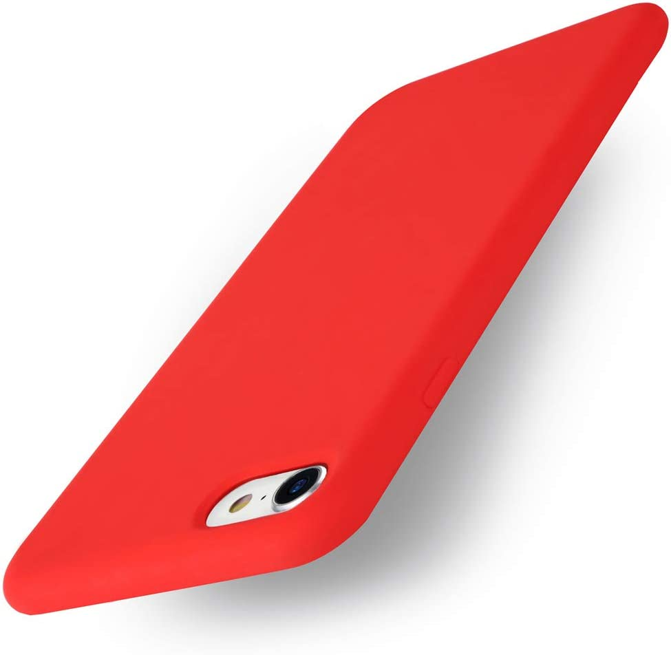 Yajuhoy iPhone 8 Case / iPhone 7 Case, Liquid Silicone Gel Rubber Case Soft Microfiber Cloth Lining Cushion Compatible with Apple iPhone 8 (2017) / iPhone 7 (2016) - Red