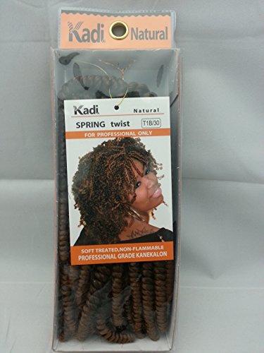 Kadi Natural Braiding Style, Hair Extension, Professional Grade Kanekalon (T1B/30 - Black/Medium Auburn, SPRING - Medium Twist