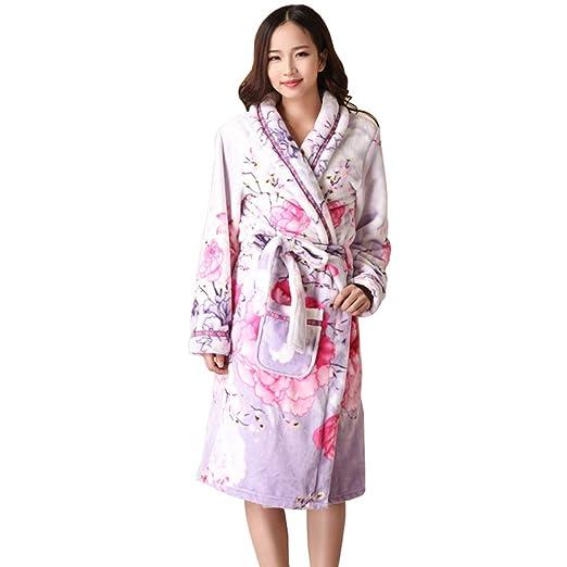 V1 Clothing CO Pijamas, Camisones de camisón para los Amantes de la Franela de otoño e Invierno Batas de baño Gruesas para Hombres y Mujeres: Amazon.es: ...