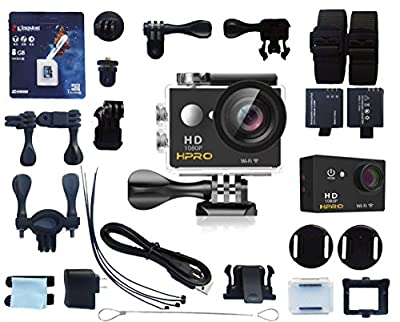 H-PRO Black 4 Premium Quality Sports Action Waterproof Camera 170° Wide Angle View Full HD1080p 12MP 30m/92ft Water Resistant WiFi 22 Accessories 8GB Kingston SD Card Bikes Helmet Diving Snorkelling from Shenzhen Guanghao Yuan Electronic Technology