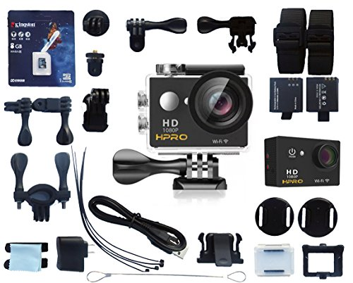 H-PRO Black 4 Premium Quality Sports Action Waterproof Camera 170° Wide Angle View Full HD1080p 12MP 30m/92ft Water Resistant WiFi 22 Accessories 8GB Kingston SD Card Bikes Helmet Diving - Case Camer