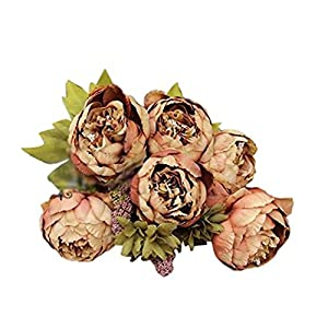 Holly's 1Bouquet 8 Heads Artificial Peony Silk Flower Leaf Home Wedding Party Decor 32