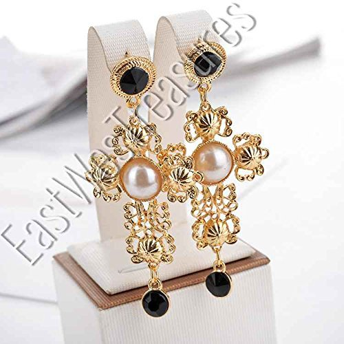 EWT Royal Crown BAROQUE gold and pearl accented Large Cross drop dangle Statement Earrings/large Cross dangle - Gabbana And Dolce Baroque