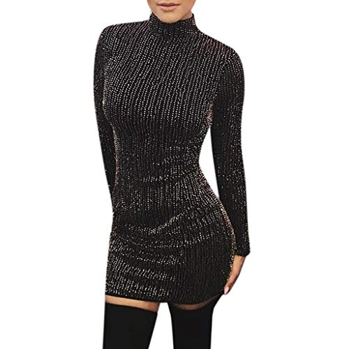 iDWZA Women Sexy Sequin Turtleneck Slim Fit Lady Long Sleeve Everying Party Mini Dress(Black ,L)