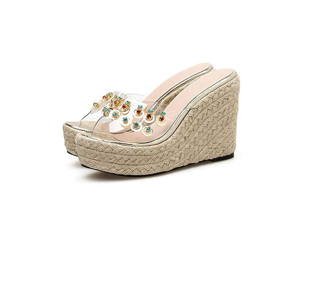 Pantofole da Donna Cristallo Trasparente Fondo Spesso Lustrino Multicolore Strass Tacco Alto Scarpe Appuntito Traspirante Antiscivolo Durevole Sandali Estivi