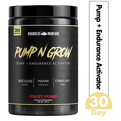 Pump-N-Grow Muscle Pump and Nitric Oxide Boosting Supplement by Anabolic Warfare * - Caffeine Free Pre Workout with L-Citrulline, L-Arginine, Beta-Alanine (Au Naturel - 30 Servings)