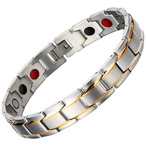 Magnetic Therapy Fashion Bracelets (Men Sleek Steel Magnetic Therapy Bracelet in Velvet Gift Box with Free Link Removal Tool,8.66