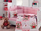 LaModaHome 6 Pcs Luxury Soft Colored Bedroom Bedding 100% Cotton Ranforce Baby Sleep Set Quilt Protector/Soft Relaxing Comfortable Pattern Design Teddybear Love Heart/Baby Bed Size with Flat Seet