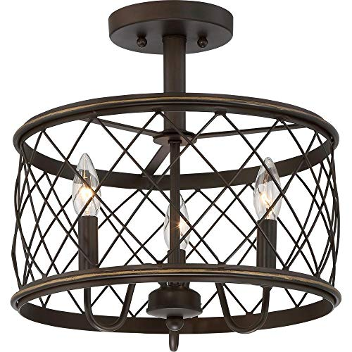 Dia15.57 Inch Trellis Cage Semi Flush Mount Ceiling Light - 3 Light Openwork Lantern Industrial Style Antique Metal Mesh Wire French Country Lamp (Aged Bronze)