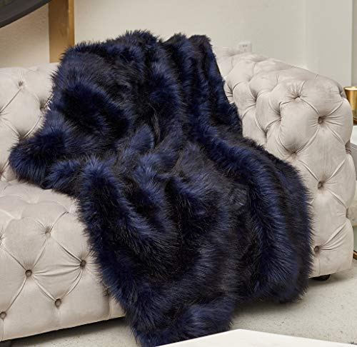 Luxury Navy Blue Faux Fur Blanket with Faux Suede Reverse , Navy Shaggy Fluffy Long Fur with Black Tips, Super Elegant, Warm, Fuzzy, Fluffy ,Thick Decoration Blanket for Sofa, Couch, Bed, 50''x70