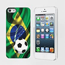 Mobiflare Apple iphone 5S / 5 Brazil Flag with Soccer Ball Snap on Artistry Design Case