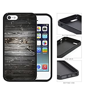 Dark Gray Wood Boards of Wood Pattern Rubber Silicone TPU Cell Phone Case Apple iPhone 5 5s by Maris's Diary