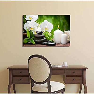Canvas Prints Wall Art - Zen Basalt Stones and Orchid on The Wood | Modern Wall Decor/Home Art Stretched Gallery Canvas Wraps Giclee Print & Ready to Hang -24